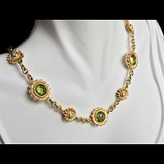 Bielka 18K Peridot Diamond Sunflower Necklace