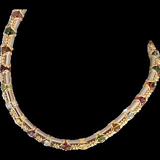 Vintage Bulgari Multi Gemstone 18K White & Yellow Gold Necklace