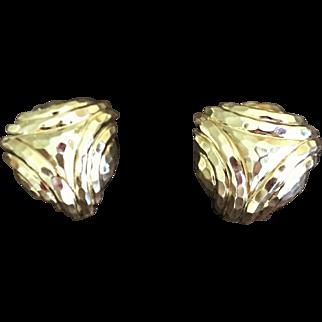 Henry Dunay 18K Gold Trillion Earrings