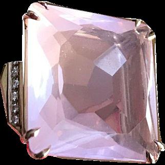 H Stern Rose Quartz and Diamonds Cobblestones Ring