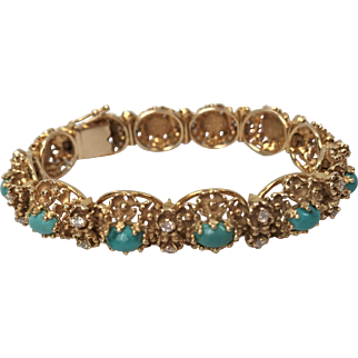 La Triomphe 14K Gold Diamond and Turquoise Bracelet