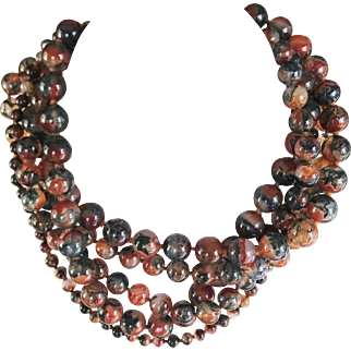 Paloma Picasso for Tiffany & Co 5 Strand Agate Necklace