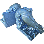 Large Rookwood Pottery Bookends 1929 Blue Rook
