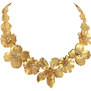 Tiffany and Co Bouquet Gold Diamond Necklace