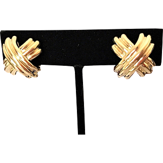 Tiffany and Co 18K Gold Signature X Earrings
