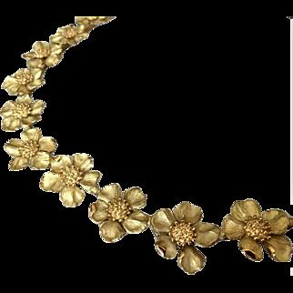 Tiffany and Co 18K Vintage Dogwood Flower Necklace