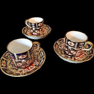 3 Traditional Imari Royal Crown Derby 2451 Espresso Cups
