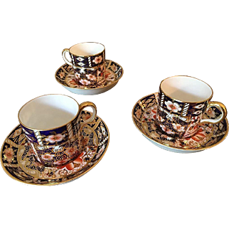 3 Traditional Imari Royal Crown Derby 2451 Espresso Cups