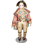 """9"""" Antique Francois Gaultier French Fashion With All Original Clothing Dressed As Napoleon"""