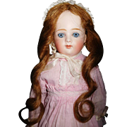 """18"""" Antique Closed Mouth Kestner Shoulder Head Bisque Doll With Kid Leather Body"""