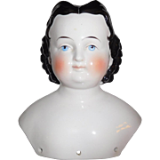 "7 1/2"" Tall Lovely German Pink Lustre China Head Only, Good Hairdo With Brush Strokes"