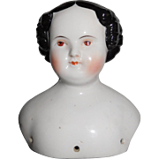 """5"""" Tall Antique Flat Top China Doll Head Only With Unusual Brown Eyes"""