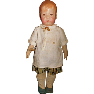"16"" Antique #1 Kathe Kruse Doll - Part of Original Tag On Wrist"