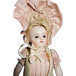 """6 1/4"""" Antique Kestner Fully Jointed All Bisque Doll With 5 Strap Boots"""