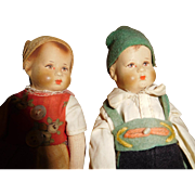 "6"" Tall Pair (Boy & Girl) All Original German Bing Art Dolls - Adorable!!  Ca. 1921"