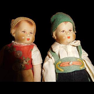 "6"" Tall Pair (Boy & Girl) All Original German Bing Art Dolls - Adorable!!  Ca. 1921"
