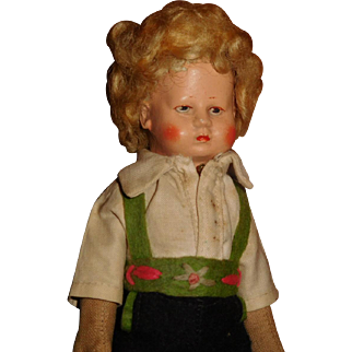 "6 3/4"" Tall Antique All Original German Bing Art Doll With Wig.  Ca. 1921"