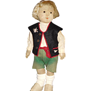 """17"""" Antique Steiff Child Doll With Button, Original Clothes    AS IS"""