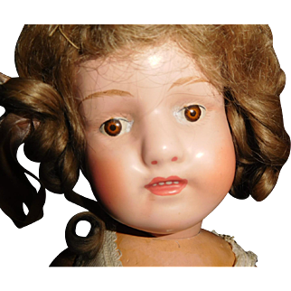 """15"""" Antique Schoenhut Dolly In Minty Condition, Orig Curly Mohair Wig Nailed On, Orig Union Suit"""