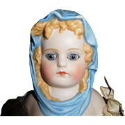 "13"" Antique Blue Scarf Parian Doll With Glass Eyes"