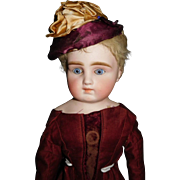 "18"" Antique German Closed Mouth Doll Shoulder Head By Gerbruder Kuhnlenz"
