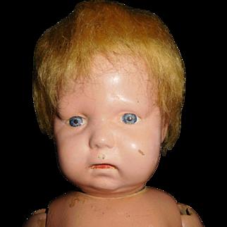 """17"""" Antique Schoenhut Wood Toddler Doll With Incised Schoenhut Mark"""