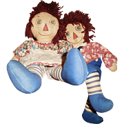 """19"""" Vintage & Wonderful Pair of All Original Homemade, Hand Painted Raggedy Ann & Andy Cloth Dolls"""