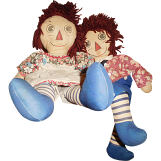 "19"" Vintage & Wonderful Pair of All Original Homemade, Hand Painted Raggedy Ann & Andy Cloth Dolls"