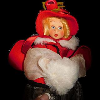 "9"" Antique Lenci Mascotte Doll Mint And In Original Box"