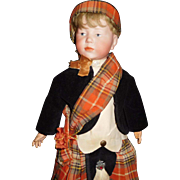 "15"" Antique All Original Kammer & Rheinhart Doll Model #101 In Fabulous Scottish Costume"
