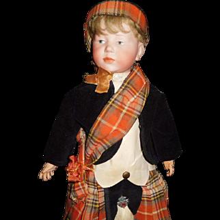 """15"""" Antique All Original Kammer & Rheinhart Doll Model #101 In Fabulous Scottish Costume"""