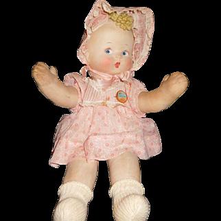 "17"" RARE Antique Cloth Doll Pat-O-Pat by Effanbee All Original with Original Button Ca. 1925"