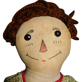"""16"""" Early Raggedy Ann by Gruelle With Wooden Heart - Very Good Condition With Minimal Surface Dirt"""