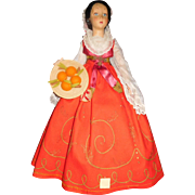 """25"""" Antique All Original Lenci Lady Doll Holding A Basket Of Fruit - 2 Tags"""