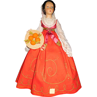 "25"" Antique All Original Lenci Lady Doll Holding A Basket Of Fruit - 2 Tags"