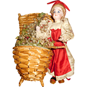 "12"" Antique Francois Gaultier French Lady With Wicker Basket Candy Container"