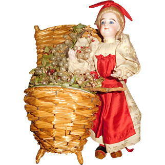 """12"""" Antique Francois Gaultier French Lady With Wicker Basket Candy Container"""