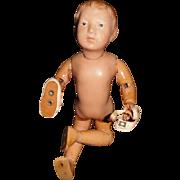 """15"""" Antique Carved Hair Schoenhut Doll By Designer Graziano"""