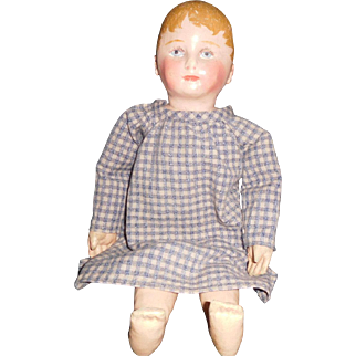 """17"""" Antique Martha Chase Oil Painted Cloth Doll In Excellent Condition"""