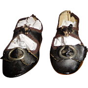 "2 7/8"" Long Antique Black Leather Doll Shoes Incised 6"