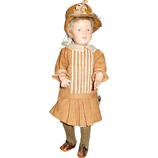 "15"" Antique Schoenhut Doll With Incised Mark And Some Professional Touch-Up"
