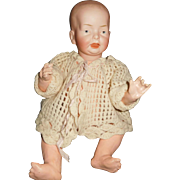 "13"" Antique F.B. German Character Baby With Solid Dome Head & Painted Eyes"