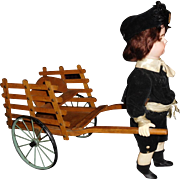 "15"" Tall Antique Simon & Halbig Wind Up Automaton Pulling Cart"