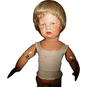 """17"""" Antique Schoenhut Wood Toddler Doll With Two Labels"""