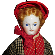 "17"" Antique Hard-To-Find Sleep Eye Wigged China Head Doll. Lovely Antique Clothing"