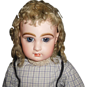 "31"" Antique Beautiful & Perfect Closed Mouth Size 14 Jumeau Doll Mkd Head & Body, Applied Ears"