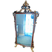 1790-1800 Italian Mahogany and Parcel-Gilded Neo-Classical Carved Two Plate Mirror