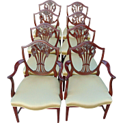 Set of 8 Hepplewhite Style Mahogany Shield Back Dining Chairs