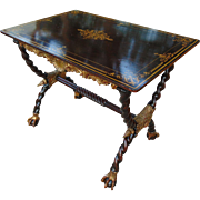 Italian Neo-Classical Faux-Grain Painted and Parcel-Gilded Library Table
