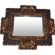 17th Century Spanish or Italian Renaissance Carved and Gilded Frame with Mirror